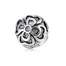 5Pcs Silver Plated Stopper Flower Beads Charms for Chain Bracelet Jewelry Making