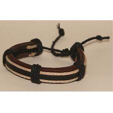 Wristband Leather Bracelet Cuff Bangle Brown Beige Cord Black adjustable Wrist
