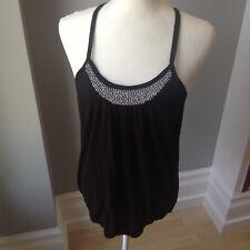 OLD NAVY Womens S Black Gray White Bead Sleeveless Shirt Strap Tank Top Blouse