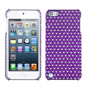 iPod Touch 5th / 6th / 7th Gen - Purple Silver Polka Dot Hard Diamond Bling Case