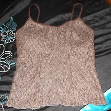 NWT Papillon Blanc Heathered Brown Bark Knit Cami Crochet Wool Blend Tank Large