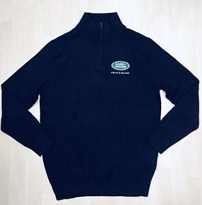 "Henbury Land Rover Size M (40"" Chest) Navy Blue Cotton Acrylic Jumper"