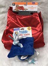 Pet Superhero Cape Red Satin L/XL & Bark Valelictorian Cap Dog Toy Blue