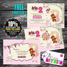 Personalised Birthday Invitations Teddy Bear's Picnic x 5