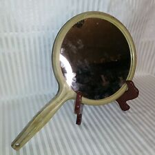 Vintage Hand Held Round Vanity Mirror Gold Embossed
