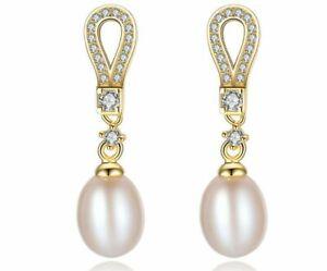 925er Sterling Silber Ohrringe Ohrhänger Süßwasser Perle Zirkonia Silberschmuck