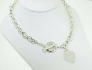 Tiffany & Co. Sterling Heart Tag Please Return To Chain Link Toggle Necklace 16""