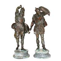 Antique Sculpture Figures, Spelter Warrior, Late 1800s, Handsome Pair!