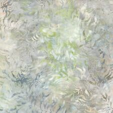 """Ivory Green Bamboo Leaves 106-108"""" Wide Quilt Backing Fabric Wilmington Batiks"""