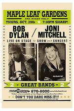 Folk: Bob Dylan & Joni Mitchell Maple Leaf Gardens Toronto Concert Poster 1998