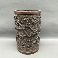 Collect Copper bronze Carved plum blossom Statue pen Brush Pot pencil vase