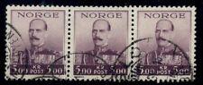 Norway #180 5kr Haakon, hi value, used Strip of 3 w/Proper Early Cancel