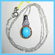 Sleeping Beauty Turquoise 2ct Tanzanite Diamond Necklace 14K RG/Platinum/S S 925