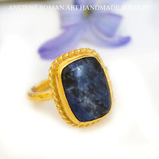 SODALITE RING 24K  GOLD OVER 925 STERLING SILVER BY OMER TURKISH FINE JEWELRY
