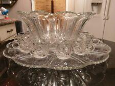 SUPER Gorgeous Antique 12 Cup Punch Bowl on Platter..Cups...Ladle.. All Original