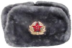 Russische Fellmütze (GRAU) Uschanka Pelzmütze Schapka Wintermütze Armeemütze