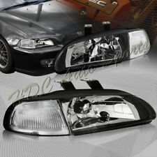 For 1992-1995 Honda Civic Hatchback/Coupe JDM Black Headlights W/Clear Reflector