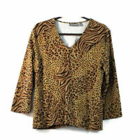 Croft & Barrow Leopard Print V Neck Size Large ¾ Sleeves Knit Top Stretch