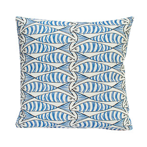 "Sardine Fish Nautical Cushion. Blue and White. Double Sided. 17x17"". Handmade."