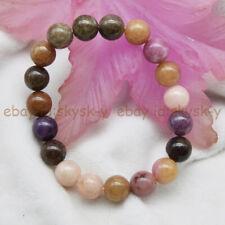 Gemstone Beads Elastic Bracelet 7.5'' 10mm Natural Multi-Color Tourmaline Round