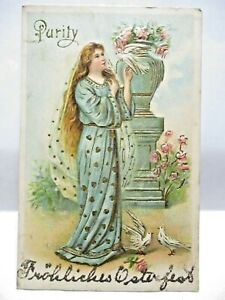 1910 POSTCARD PURITY, WOMAN WITH DOVE, GERMAN HAPPY EASTER IN GLITTER