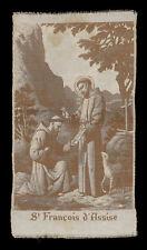 santino manufatto ricamato su seta 1900 S.FRANCESCO D'ASSISI