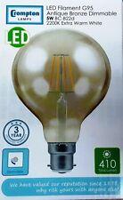 2X 5 W BC G95 LED Filamento Crompton 2200K Globe Regulable 410 LM 4283 Bronce