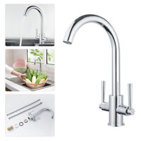 Kitchen Sink Mixer Taps Swivel Spout Dual Lever Tap Mono Brushed Faucet WELS