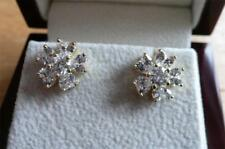 SIMULATED CLEAR DIAMOND 925 STERLING SILVER YELLOW GOLD FLOWER STUD EARRINGS