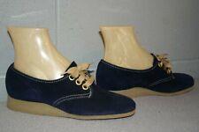NOS 6 B Suede NAVY Blue Vtg 1960s 1970s Platform Wedge Heel Oxford Shoe 60s 70s