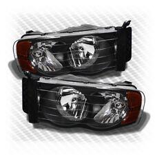 For 2002-2005 Dodge Ram Black Headlights Amber Corner Head Lights Pair Lamp Set