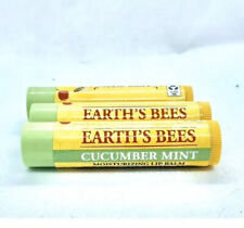 3X Factory Sealed Burts Bees Limited Edition Earths Bees Cucumber Mint Lip Balm