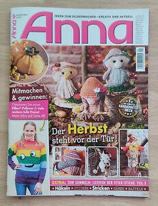 Magazin Zeitschrift Handarbeit Nähen Stricken Häkeln Sticken Anna September 2021