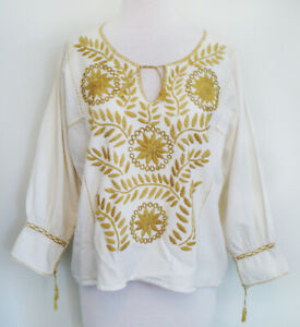 Vtg Boho Cream MEXICAN Peasant BLOUSE Huipil Ocher Floral Hand Embroidery Med