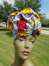 White, Yellow and red african fabric headwrap