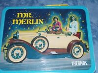 vintage lunch box/ Mr Merlin/with thermos/1981/new