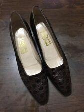 SALVATORE FERRAGAMO Women's 11 AA Pumps Brown Leather Moc Croc