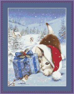 Kreuzstich Vorlage, Katze Kreuzstich, Weihnachten, Sticken, Gezählter Kreuzstich