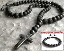 Halskette Kreuz Hämatit Onyx Lava perlen Edelstein Cross Necklace Rosenkranz set