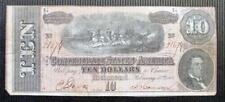 1864 Confederate States $10 Ten Dollar Note Lot 54