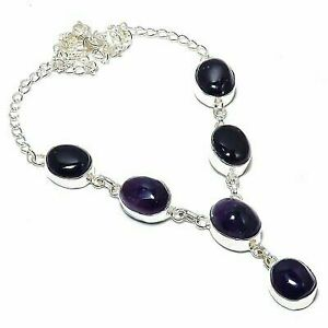 """Sage Amethyst Gemstone Ethnic 925 Sterling Silver Jewelry Necklace 18"""""""