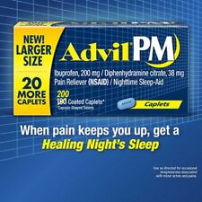 Advil PM Pain Reliever (NSAID), Nighttime Sleep-Aid 200 Coated Caplets Exp 02/20