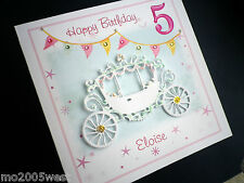 Personalised PRINCESS CARRIAGE birthday card Any Name / Age