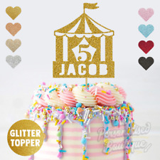 Personalised Custom Glitter Cake Topper, Circus Tent Childrens Birthday Party