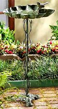Verdigris Broadleaf And Sparrow Sculpted Birdbath * Nib
