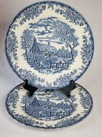 """2 - 10"""" Dinner Plates Churchill THE BROOK BLUE & WHITE Made In England EUC"""