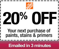 One 1x Home Depot 20% OFFCoupon Paint&Stain-INSTORE ONLY -Fast-Delivery-