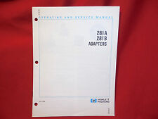 HP 281A - 281B Adapters Operating & Service Manual Used Very Good Condition