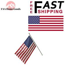 US Flag with 6 ft. Aluminum Pole and Nylon Bracket 3 ft. x 5 ft. Embroidered