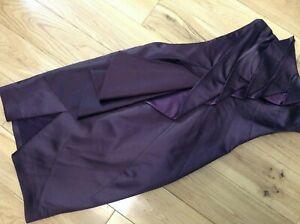 Karen Millen Ladies Plum Aubergine Satin Sleeveless Cocktail Party Dress Size 8